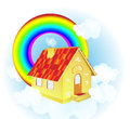 A cute cartoon country house vector illustration of floating in the sky Royalty Free Stock Image