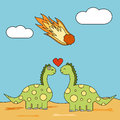 Cute cartoon couple of dinosaurs in love during meteor strike funny concept illustration
