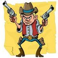 Cute cartoon cowboy holding sixguns Stock Photos
