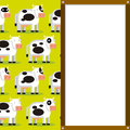 Cute cartoon cows and white board with space vector for text Stock Image