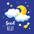 Cute cartoon crescent and clouds in the night sky. Handwriting inscription Good night.