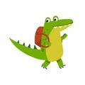 Cute cartoon crocodile character walking with backpack vector Illustration