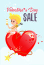 cute cartoon cupid sitting on big heart shaped bomb and counting time. Royalty Free Stock Photo