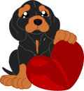 Cute cartoon dachshund and a heart Royalty Free Stock Photo