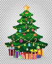 Cute cartoon decorated Christmas fir tree with gifts and presents Royalty Free Stock Photo
