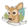Cute cartoon deer illustration of a and empty banner Stock Photos