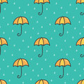 Cute cartoon doodle umbrella and water drops seamless pattern background Royalty Free Stock Photo