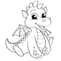 Cute cartoon dragon. Black and white vector illustration for coloring book Royalty Free Stock Photo