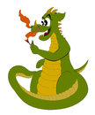 Cute cartoon dragon funny green and yellow firing a match isolated on a white background Royalty Free Stock Photos