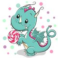 Cartoon Dragon with lollipop on a white background