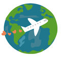 Cute cartoon earth and plane with hearts love travel the world concept vector illustration Royalty Free Stock Photo