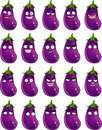 Cute cartoon eggplant smile with many expressions Royalty Free Stock Photography