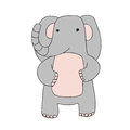 Cute cartoon elephant character, vector isolated illustration in simple style.
