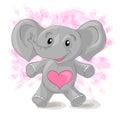 Cute cartoon elephant with hearts. Royalty Free Stock Photo