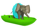 Cute cartoon elephant learning swimmimg