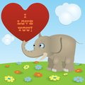 Cute cartoon elephant red paper heart sign i love you Royalty Free Stock Images