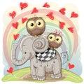 Cute Cartoon Elephant and Two Owls