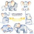Watercolor set with cute cartoon elephants Royalty Free Stock Photo