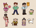 Cute cartoon family Royalty Free Stock Photo