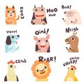 Cute Cartoon Farm Animal Making Sounds Set, Cat, Cow, Sheep, Dog, Pig, Horse, Hen, Lion, Chick Saying Vector