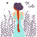 Cute cartoon fashion girl with hat and summer dress with a long braid