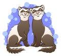 Cute cartoon ferrets