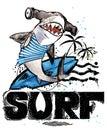 Cute cartoon fish. Surf vintage hand drawn text. sea animal watercolor illustration. children`s summer holidays background.