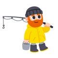 Cute cartoon Fisherman
