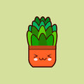 Cute cartoon flower icon with funny face in pot kawaii plant character . Flat design Vector