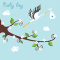 Cute cartoon flowering branch.Flying stork with newborn baby-boy Royalty Free Stock Photo