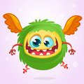 Cute cartoon flying monster. Halloween vector fluffy green monster