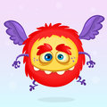 Cute cartoon flying monster. Halloween vector fluffy red monster.