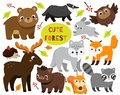 Cute cartoon forest animals set. Woodland wildlife. Badger, raccoon, moose and other wild creatures for kids and children