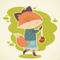 Cute cartoon fox celebration card character holding an xmas tree ball toy Royalty Free Stock Photo