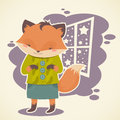Cute cartoon fox celebration card character with winter window frame Royalty Free Stock Image