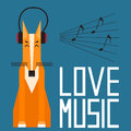 Cute cartoon fox enjoys music in headphones. Simple graphical il
