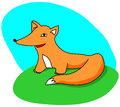 Cute cartoon fox on green grass Stock Photos