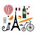 Cute cartoon french culture symbols: wine, Eiffel tower, baguette, retro bicycle, mustache, cheese.