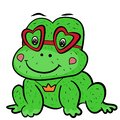 A cute cartoon frog prince fairy tale with glasses in shape of heart and the decoration of the crown pendant. Valentine`s Day.