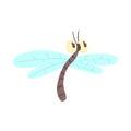 Cute cartoon funny dragonfly character vector Illustration Royalty Free Stock Photo