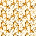 Cute cartoon giraffe on orange spot background, vector seamless pattern, decorative texture, colorful ornament Royalty Free Stock Photo