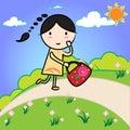 Cute Of Cartoon Girl In Nature