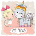 Cute Cartoon Girl and Unicorn Royalty Free Stock Photo