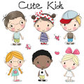 Cute cartoon girls and boys Royalty Free Stock Photo