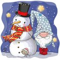 Cute Cartoon Gnome and Snowman