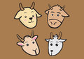 Cute cartoon goat expressions vector illustration differnt breeds of goats with funny on face Stock Photography
