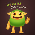 Cute Cartoon Green alien character with My little cute monster typography. Fun Fluffy incredible yeti creature