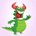 Cute cartoon green dragon. Vector illustration. Dinosaur cartoon Royalty Free Stock Photo