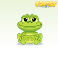 Cute Cartoon Green Frog. Funny...