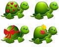 Cute Cartoon Green Turtles Clip Art